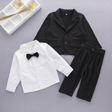 Baby Boy Wedding Christening Pageboy Tuxedo Jacket+Pant Suit Outfit Clothes Set