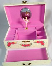 Girl's Twirling Ballerina Ballet Tutu Wind Up Musical Jewelry Box Pink Flowers