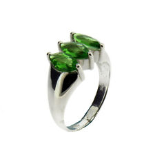 Three Faceted Stone Green Helenite Sterling Silver Ring Jewelry