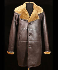 Roy Brown Ginger Mens Smart Winter Real Shearling Sheepskin Leather Duffle Coat