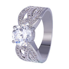 925 Silver Wedding Engagement Women's Jewelry Clear Gemstone Ring Size 6-10