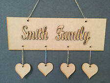 MDF blank wooden plaque, hearts, twine & personalised  family wording