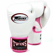 Twins White Pink Air Muay Thai Velcro Boxing Gloves