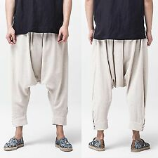 Men Casual Linen Beige Drop Crotch Low Rise Harem Loose Fit Baggy Pants Trousers
