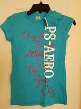 AEROPOSTALE PS GIRLS NWT SHORT SLEEVE BLUE GRAPHIC T-SHIRT SIZE 10