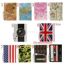 PVC Cartoon Print Travel Passport Holder Ticket Protector Case Card Wallet Tool