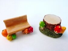 Miniature Tree Stump Log Bench Mushroom Fairy Garden Mini Dollhouse Plant Decor