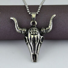 Punk Skull Death Pendant Mens Stainless Steel Totem Gothic Pendant Necklace New