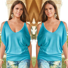 Women's Sexy Off Shoulder Loose Blouse Batwing Sleeve Plain Causal Shirt V Neck