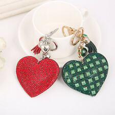 Womens Key Chains Romantic Heart Shaped Fringe Rhinestone Bag Charm Accessory