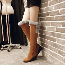 Womens Casual Wedge Heel Pull On Over Knee Boots Round Side zip Fur Lined Winter
