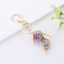 New Creative Crystal Shoe High Heel Keyring Rhinestone Purse Pendant Key Chain