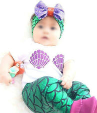 Toddler Girl Kid Baby Outfits Set Top Pants Little Mermaid Costumes Headband 3PC