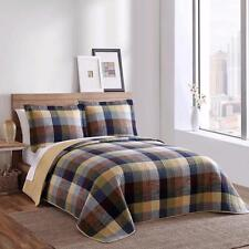 Beautiful Blue Green Yellow Neutral Plaid Cabin Lodge Casual Quilt Bedding Set