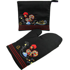 Suspiro d' Algodao® White Oven Mitt and Pot Holder with Rooster Design
