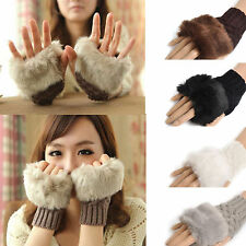 Women Fashion Fur Half Gloves Knitted Fingerless Gloves Mid-Length Gloves Mitten