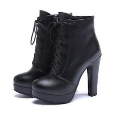 Womens Military Combat Motorcycle Ankle Boot Lace Up Side Zip Block Heel Booties