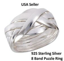NEW Solid 925 Sterling Silver 8 Band Interlocking Puzzle Band Ring Rare sz 6-12
