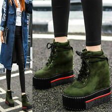 Womens Lace Up Platform Wedges Ankle Boots Hi Top Fashion Sneakers Punk Creepers
