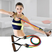 New Resistance Bands Set Home Latex Yoga Pilates Exercise Fitness Workout 11Pcs