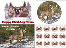 EDIBLE CAKE IMAGE DEER PARTY TOPPER ICING SHEET 8X10 ROUND OR CUPCAKES HUNTING