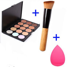 15 Colors Contour Face Cream Makeup Concealer Palette Sponge Puff Powder Brush E