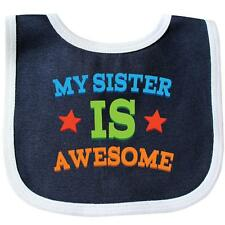 Inktastic My Sister Is Awesome Baby Bib Siblings New Big Brother Kids Gift Sis
