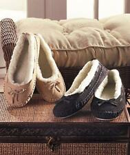 Women's Genuine Suede Moccasins Slipper House Shoe Slip On Fleece Lined Warm NEW