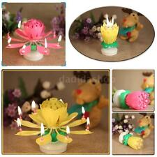 Musical Rotating Lotus Flower Cake Topper Party Birthday Candle Light Lamp S4Q5