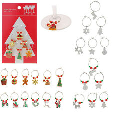 Set of 6 Mixed Christmas Wine Glass Charms Alloy Pendants Tablewear Accessory