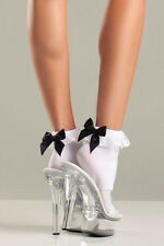 Sexy Socks Ankle Stripper MILF Dancer Lingerie White Black Red Bow Lace Ruffles