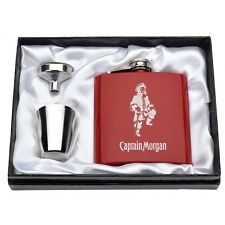 Engraved 6oz Captain Morgan Red Hip Flask Set Funnel Stainless Steel Gift Box