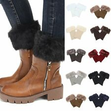 Women Winter Leg Warmers Crochet Knit Fur Trim Leg Boot Socks Toppers Cuffs New