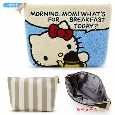 Hello Kitty Chenille Makeup Pouch Cosmetic Bag Purse Sanrio from Japan S5404