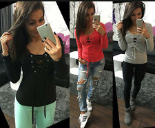 Women Sexy V-Neck Cross LACE-UP Slim Long Sleeve T-shirt Casual Top Shirt Blouse