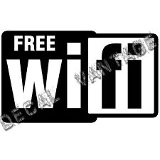 Wifi Free Spot Logo Square Vinyl Sticker Decal - Choose Size & Color