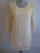 NWT MECHANT M & L CREAM/YELLOW CROCHET LACE LINED MINI DRESS MSRP $108.00