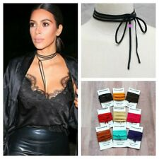 Buttery Soft Lambskin Leather Choker Necklace Wrap Bolo Celeb Fashionista 5MM