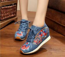 Girls Womens Butterfly Wings Embroidery Canvas Shoes High-top Shoes Plus Size