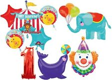 FIRST 1ST BIRTHDAY CIRCUS BALLOONS BOUQUET DECORATIONS SEAL ELEPHANT CLOWN ONE
