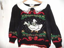 Ducks Geese Retro Vintage uGlY Christmas Sweater Party sz M cotton Made in USA