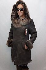 BROWN 100% Toscana Sheepskin Shearling Leather Lambskin Coat Jacket Hood XS-7XL