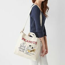 PEANUTS Snoopy 2way Shoulder Bag Tote Purse Handbag Pouch Pochette Japan E2883