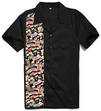 50s male clothing rockabilly style print indie mens fifties bowling shirts