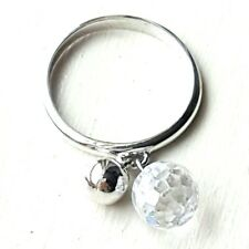 FUN Dangling Clear CRYSTAL BALL RING w/ CZ Gem Ball Sterling Silver (SIZE 6,7,8)