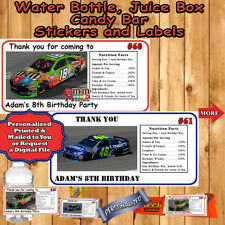 Nascar Birthday Favor Tag Water Bottle Address Label 1 sheet Personalized