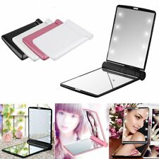 8 LED Double Sided Compact Cosmetic Mirror Pocket Size Foldable Portable Make Up