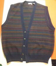 VTG Alfani Argyle Colorful Button Front Sweater Vest Acrylic Wool Italy Mens L
