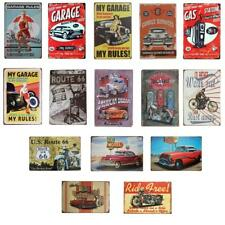 Metal Vintage Tin Plaque Garage Pub Bar Decor Sign Wall Poster GARAGE CAR THEME