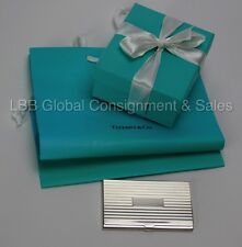 Tiffany & Co Sterling Silver Striped  Business Card Case Holder Engravable